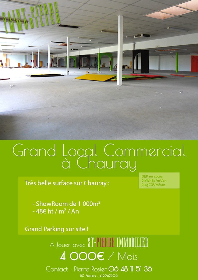 Location grand local commercial de 1 000m2 chauray st for Site immobilier location
